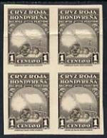 Honduras 1945 Red Cross 1c Imperf Proof Block Of 4 In Grey (without Flag & Cross) Mounted On Thick Card (ex AB... - Honduras