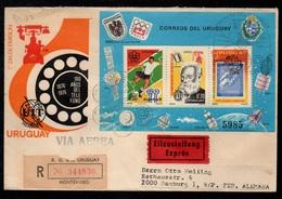 URUGUAY - MONTEVIDEO - TELEPHONE / 1976 LETTRE AVION RECOMMANDEE EXPRES POUR L ALLEMAGNE (ref 7969) - Uruguay
