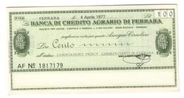 Italy Miniassegni FDS / Emergency Check UNC - Banca Credito Agrario Ferrara 100 Lire Commercianti Ferrara 04/04/1977 - [10] Checks And Mini-checks