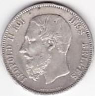 PIECE ARGENT 5 FR - LEOPOLD II - 1865-1909: Leopold II