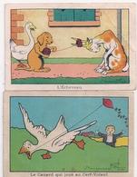 2 Images Benjamin RABIER  Le Canard Qui Joue - Rabier, B.