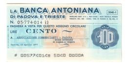 Italy Miniassegni FDS / Emergency Check UNC - Banca Antoniana 100 Lire Commercianti Padova 15/04/1977 - [10] Checks And Mini-checks
