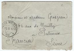 Militaire - Italie Cachet De POSTA MILITARE 90 Du 15/8/17 - 157 Fanterria 10 è Compagnia - Postmark Collection (Covers)