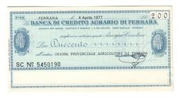 Italy Miniassegni FDS / Emergency Check UNC - Banca Credito Agrario Ferrara 200 Lire Agricoltori Ferrara 04/04/1977 - [10] Checks And Mini-checks