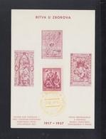 Tschechoslowakei Sonderblatt 1937 Bitva U Zborova - Brieven En Documenten