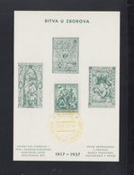 Tschechoslowakei Sonderblatt 1937 Bitva U Zborova(2) - Brieven En Documenten