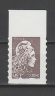 FRANCE / 2018 / Y&T N° AA 1595 ** : Marianne D'YZ (adhésif De Feuille) 0.05 € X 1 BdF Haut - état D'origine - Autoadesivi