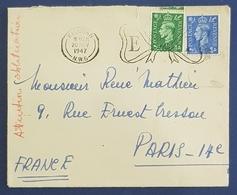 1947 Covers, Kilburn London - Paris France, Great Britain - 1902-1951 (Könige)