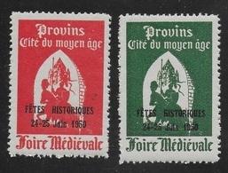 PROVINS 1950 - FETE HISTORIQUE - 24/25 JUIN - 2 COULEURS - SURCHARGES - Erinnophilie