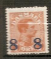 Yv. DK  N°  128   *    8o S 7o  Surchargé   Cote  3 Euro BE R  2 Scans - 1913-47 (Christian X)