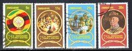 Zimbabwe 1982 75th Anniversary Of Boy Scouts Set Of 4, Used, SG 616/9 (BA) - Zimbabwe (1980-...)