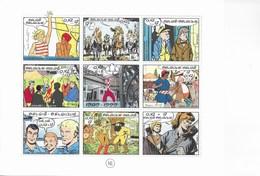 Planche Timbres BD Belge. Hergé, Mitacq, Jigé, Tilleux... - Feuilles Complètes