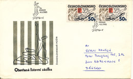 Czechoslovakia FDC 4-6-1985 Josef Capek In Pair With Cachet Uprated On The Backside Of The Cover And Sent To Denmark - FDC