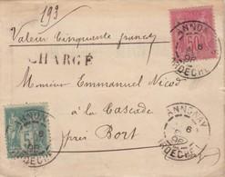 LETTRE. COVER. FRONT. FRANCE. 1896. CHARGÉ 50F ANNONAY ARDECHE TO LA CASCADE PRES BORT - Postzegels