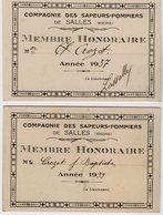 VP14.124 - 2 Cartes De Membre Honoraire De La Cie Des Sapeurs - Pompiers De SALLES ( Rhone ) - Pompiers