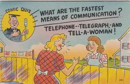 Vintage 1948 Card - Comic Comics Humour Humor - Telephone Telegraph Woman - Stamp + Postmark - 2 Scans - Humour