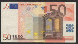 VERY RARE  50 EURO  S J020  - TRICHET   CIRCULATED - EURO