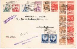 España. Carta Certificada De Granada A París Con Sellos De Caridad Granadina - 1931-50 Lettres