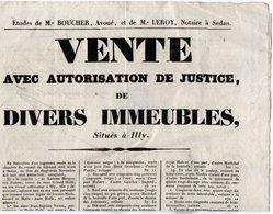 VP14.126 - SEDAN 1839 - Belle Affiche 24 X 35 - Etude De Me BOUCHER & Me LEROY Notaire - Vente D'Immeubles Situés à ILLY - Posters