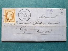 1864 - Monsieur Babey Huissier à GY Haute Saône Doubs Cachet Tampon Lettre Marcophilie - 1849-1876: Classic Period