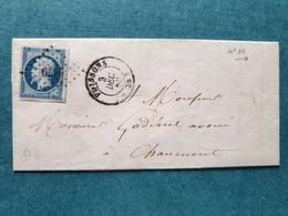 1858 - Lettre à Chaumont Par Poissons  (prés Joinville)  Marcophilie Haute Marne - 1849-1876: Période Classique