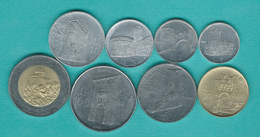 San Marino - 1988 - 1, 2, 5, 10, 20, 50, 100 & 500 Lire (KMs 218-224 & 226) - Saint-Marin