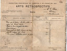 VP14.127 - Belgique - Grand Reçu De L'Exposition Provinciale Du LIMBOURG à SAINT - TROND En 1907 - Arts Rétrospectifs - Documentos Históricos