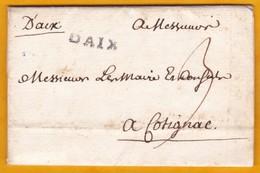 1750 - Marques DAIX Manuscrite Et Tampon Sur Lettre Avec Correspondance D' Aix Vers Cotignac - Règne De Louis XV - 1701-1800: Précurseurs XVIII