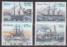 Bateaux - GROENLAND - Marine à Voile - Bateau à Vapeur - N° 386 à 389 - 2003 - Groenland