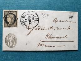 1850 - Lettre Chaumont Timbre Cachet Sceau Marcophilie Enveloppe - 1849-1876: Classic Period