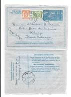 3,15 Fr Per Vliegtuig/Par Avion  21.i.1950 Vers Haut Katanga / Kolwezi/Congo Belge - Stamped Stationery