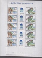 SAINT PIERRE ET MIQUELON 1 Feuille 10 T 5 Triptyques N°YT 619A Date 17.7.95 - BRGM Missions Géologiques Aux Iles - St.Pierre Et Miquelon