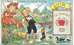 CH220 -chromo - Chocolat Felix Potin -la Peche - Mois De Juin - Signe Astral Le Cancer  - Chromo Bon Etat - - Félix Potin