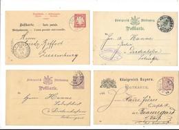 Lot De 4 POSTKARTE Allemagne Pré Timbrées 5 Ou 10 Pfennig Années 1888 à 1891 -L - Allemagne