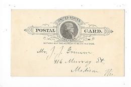 POSTAL  CARD. - ONE CENT -  Benjamin Franklin - MADISON -   - L 1 - Ganzsachen