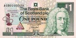 Scotland 1 Pound, P-359 (3.3.1997) - UNC - Alexander Graham Bell Banknote - 1 Pound
