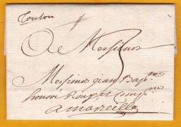 1739 Précurseurs 18e Siècle - Marque Manuscrite TOULON Sur Lettre Avec Correspondance Vers Marseille - Règne De Louis XV - 1701-1800: Précurseurs XVIII