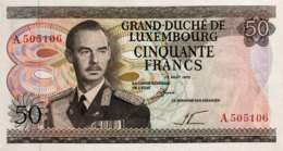 Luxembourg 50 Francs, P-55a (25.8.1972) - UNC - Luxembourg