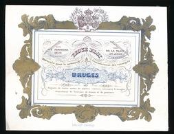 BRUGGE  PORSELEINKAART 14 X 10.5 CM - VEUVE ELOY - RUE DES ARMURIERS 17 - BREVETEE POUR LE NETTOYAGE BRUGES - Brugge
