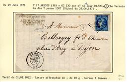 Jura : T 17 ARBOIS + GC 130 Sur Yt N° 46a +boite Rurale I ( Le Vernois ) SurLAC En 1871                 TTB - Marcophilie (Lettres)