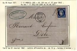 Jura : T 17 ARBOIS + GC 130 Sur Yt N° 37  SurLAC En 1871 - 1849-1876: Classic Period