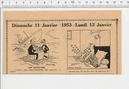 2 Scans 1954 Humour Joueurs De Cartes Jeu Ancien Biberon De Lait Bébé Bateau Hors-bord Ventilateur Ronflement Lit 223XL - Vieux Papiers