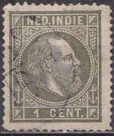 Ned. Indië: 1870 Koning Willem III 1 Cent Grijsgroen Type I Lijntanding 13¼ : 14 Kl. G.  NVPH 3 C - Indes Néerlandaises