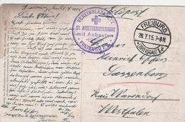 Allemagne Carte En Franchise Feldpost Vereinslazarett Freiburg 1915 - Alemania