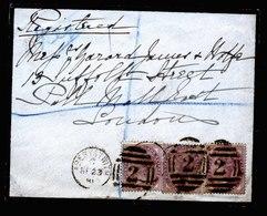 A5774) UK Grossbritannien R-Brief Aberystwith 1881 Mit MeF Mi.65I (3) N. London - 1840-1901 (Viktoria)
