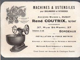 Bordeaux (33 Gironde) Carte RENE COUTRIX Machines Et Ustansiles Pour Boulangeries (PPP16725) - Publicités