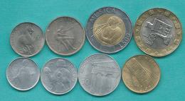 San Marino - 1997 - 2, 5, 10, 20, 50, 100, 500 & 1000 Lire (KMs 360-365; 367 & 368) - Saint-Marin