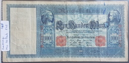 EBN1 - Germany 1910 Banknote 100 Mark Pick 42 Red Serial & Seal - [ 2] 1871-1918 : Duitse Rijk