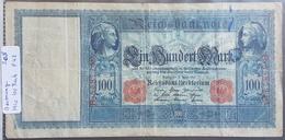 EBN1 - Germany 1910 Banknote 100 Mark Pick 42 Red Serial & Seal - [ 2] 1871-1918 : German Empire