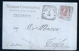 SQUINZANO - LECCE - 1918 - ALLEANZA COOPERATIVA AGRICOLA DI CONSUMI - BOLLO TONDO RIQUADRATO - Vigne